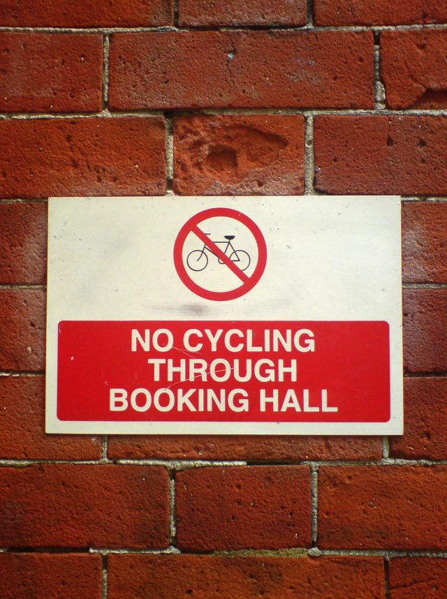 no cycling through the booking hall